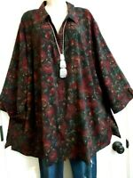 Catherines NWT Long Stretch 3/4 Sleeve Blouse Top Plus 4X Black Burgundy