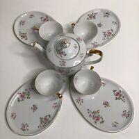 Rare Vintage Seyei 660 Tea Set Teapot 4 Tea Cup 4 Snack Plate Dessert Plate Set