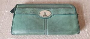Fossil Green Leather Large Purse