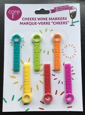 Wine Glass Markers - 6 Re-usable Glass Markers  -  Drink Glass identifiers - New