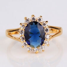 24k gold filled blue sapphire lady christmas friendship halo ring gift Sz6/M