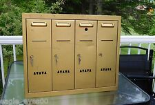 VINTAGE 1950'S 4 UNIT APARTMENT BRASS MAILBOX WITH ORIGINAL KEYS RIOPEL MONTREAL