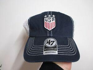 TEAM USA SOCCER (47 BRAND CLEAN UP) TRUCKERS SNAPBACK HAT (ADJ) NWT $28 NAVY