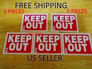 "5 Pcs Red & White Flexible Plastic "" KEEP OUT "" Sign 9 x 12 Inch S15 US Seller"