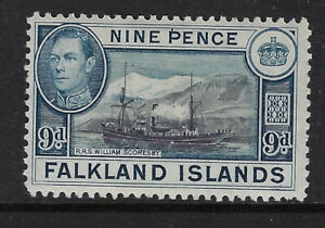 FALKLAND ISLANDS:1937 9d black and grey-blue  SG 157 mint with a hinge attached