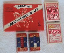 VINTAGE SPARTAN CHESS AND CHECKER SET, NOISELESS POKER CHIPS &  PLAYING CARDS