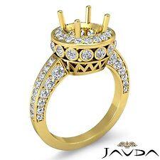 0.7Ct Diamond Engagement Halo Filigree Ring 14k Yellow Gold Round Semi Mount