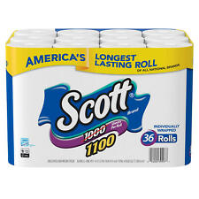 Scott 1100 Unscented Bath Tissue Bonus Pack, 1-ply (36 Rolls = 1100 Sheets Per R