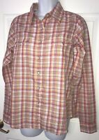 Wrangler Western Shirt Wrancher Plaid Pearl Snap L/S Medium Pink Purple Orange