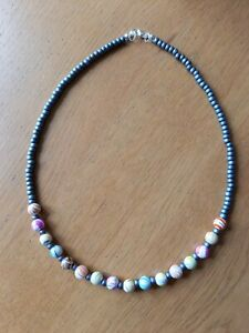 Silver & bright multicoloured bead necklace ~ boho hippy love beads