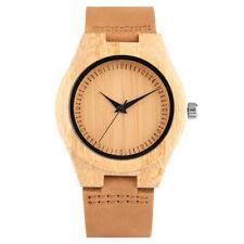 Simple Bamboo Quartz Wrist Watch Women Wood Bangle Leather Strap Brown Dial