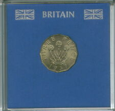 1937 Brass Threepence 3d BU (1st Year of Issue) Pre-Decimal Coin in Display Case