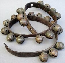 Sleigh Bells Beehive Stamped Brass Rivet 24 Strap c1900s Christmas Jingle Horse