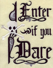 Enter If You Dare Skull New Unique Embroidered Set 2 Bathroom Hand Towels