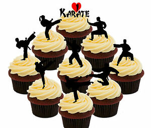 Karate Pack, 36 Edible Cup Cake Toppers, Fairy Decorations Birthday Martial Arts