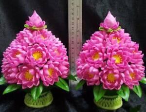 2x Lotus Artificial Arrangement Clay Thai Flower Offering Handmade Plant Pedesta