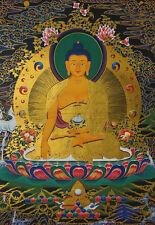 "14""SILK BROCADED BLESSED GOLDEN WOOD SCROLL TIBETAN THANGKA: BUDDHA SHAKYAMUNI"