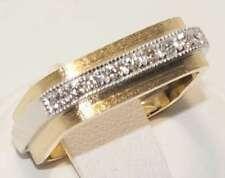 Retro Diamond Ring Square Profile Solid 14ct Yellow & White Gold Size K. Vintage