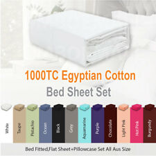 1000TC EGYPTIAN COTTON 4 Piece Bed Fitted,Flat Sheet Set Pillowcase All Aus Size