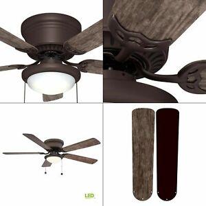 Hugger 52 in. Ceiling Fan with LED Light Espresso Bronze Low Ceiling Flush Mount