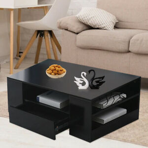 High Gloss Wooden Coffee Table With Storage 2 Drawer Living Room Furniture Black