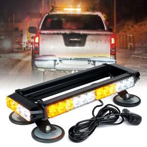 Yellow White Mix LED Strobe Light Bar Rooftop Sucker Dual Side Emergency Warning