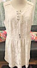Pretty V by Very Ivory Lace Button Tie Neck Skater Dress - Size 18 NWTS