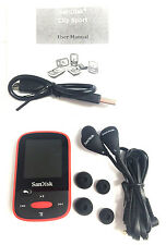 SanDisk Clip Sport  4GB Digital Music MP3 Player FM Radio Stereo LCD Screen -RED
