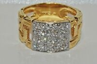 9CT YELLOW GOLD ON SILVER 0.50ct MEN'S CHUNKY CHAIN LINK RING - SIZE Y