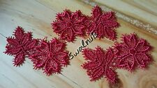10pcs Embroidered RED Venise Lace FLOWERS & LEAVES Trim Applique Motif Patch