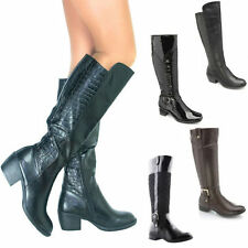 Knee High Boots Plus Size 100% Leather Upper Shoes for Women