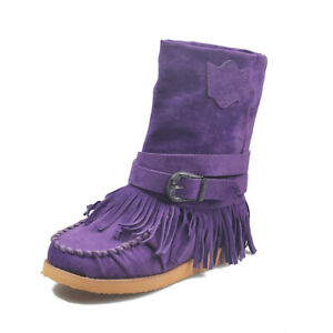 Women's Tassel Ankle Boots Casual Winter Suede Fringe Moccasin Boot Flats Shoes