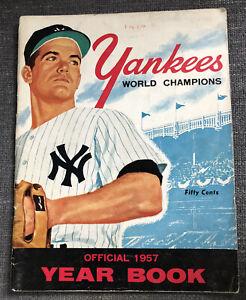 Original 1957 New York Yankees World Champion Official Baseball Yearbook Mantle