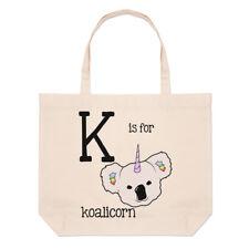 Lettere K è per koalicorn GRANDE BORSA CON MANICO da Spiaggia - Koala Unicorn