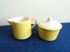 Vintage Yellow Creamer and Sugar Bowl with Lid