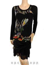 Robe ELLEA T 42 XL 4 Noir Floral Volants Fluide Tunique NEUF Dress Kleid Abido