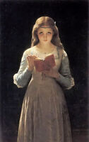 Oil painting Pierre-Auguste Cot - pause for thought young girl reading book art