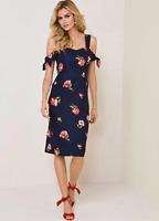 Kaleidoscope Floral Print Cold Shoulder Navy Shift Dress Size 18