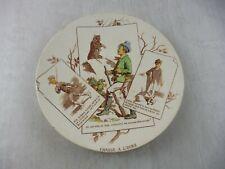 Ancienne assiette décor chasse à l'ours, série chasseurs, de Sarreguemines