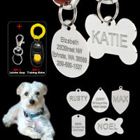 Custom Dog Tags Stainless Steel Cat Pet ID Name Tags Engraved FREE Clicker S M L