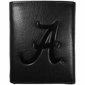 Alabama Crimson Tide Embossed Black Tri-fold Leather Wallet