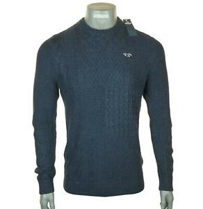 New Men's Hollister Chunky Heavyweight Cable Knit Jumper Sweater Crew Neck