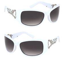 Design Damen Sonnenbrille weiss Kunststoff Gläser braun Bügel Herz Applikation