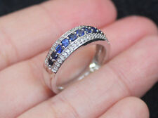 New 10K Sz7 Natural Diamond Blue Sapphire Wedding Cigar Band Ring White Gold