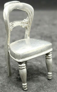 """KITCHEN PEWTER CHAIR, 2"""" TALL 1:16 SCALE. U.P. 1996 VINTAGE Dollhouse Miniature"""