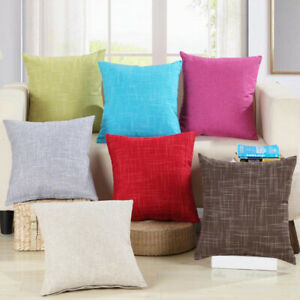 Home Decor Cotton Linen Solid Color Cushion Cover Pillow Case Sofa Office Decor