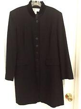 Women's Jones New York Navy Blue Long Dress Coat Winter Jacket Sz 12 100% Wool