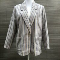 Norm Thompson Vintage Linen Blazer Jacket Striped Womens Size Medium petite