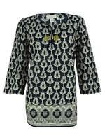 Charter Club Women's 3/4 Sleeve Split Neck Cotton Top (PM, Intrepid Blue Combo)