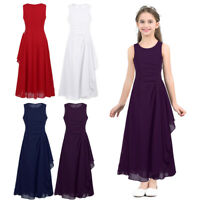 Ärmellos Chiffon Hochzeits Blumenmädchenkleider Kinderkleid Brautjungfernkleider